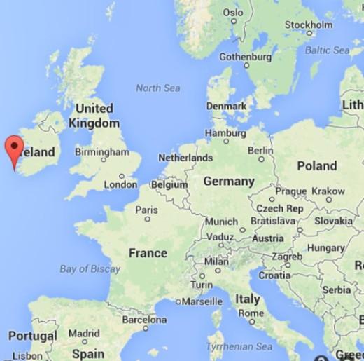Skellig Michael is off the southwest tip of Ireland in the Atlantic Ocean.